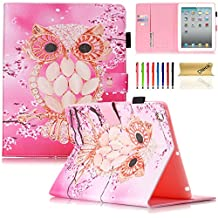 iPad Air 2 Case, iPad 6 Case, Dteck(TM) Pretty Cute Cartoon Flip Smart Kickstand Case with {Auto Sleep Wake} Premium Synthetic Leather Magnetic Wallet Cover for Apple iPad Air 2-Pink Owl
