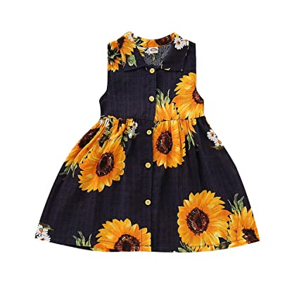 3acb7f0cea6f Amazon.com: ❤ Mealeaf ❤ Toddler Baby Girls Sleeveless Dresses Sunflower  Print Dress Clothes(12 Months-5 Years ): Home & Kitchen