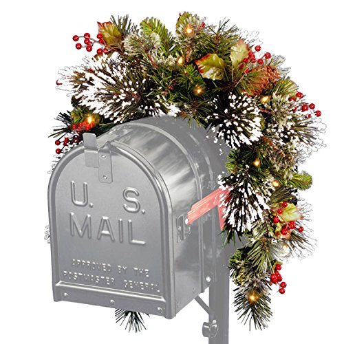 3' Pre-Lit Battery-Operated Artificial Pine with Berries Christmas Mailbox Swag - Warm Clear LED Lights