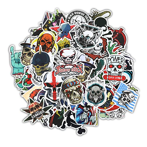 Gumind Sugar Skull Stickers Pack 100 PCS Include Zombie Skeletons and Ghosts Pattern for Laptop,Cars,Motorcycle,Bicycle,Luggage,Graffiti,Skateboard Stickers Hippie Decals Bomb Waterproof for $<!--$7.79-->