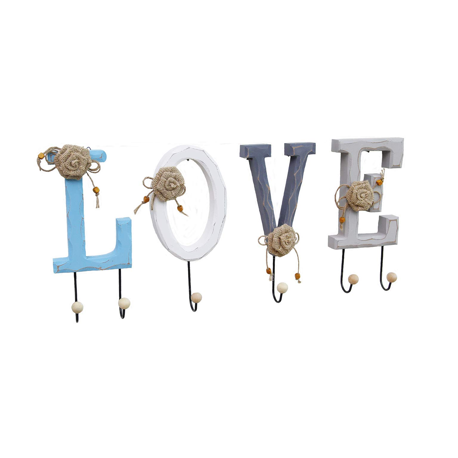 Sweet FanMuLin Rustic Distressed Wooden Creative Letter Home/Love Design Decorative Wall Mounted Coat Rack with 6 Metal Hooks (Love)