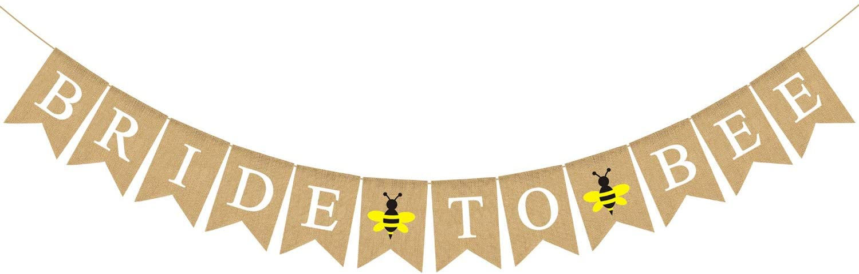 Rainlemon Bride to Bee Banner Jute Burlap Bridal Shower Wedding Bunting Garland Decoration