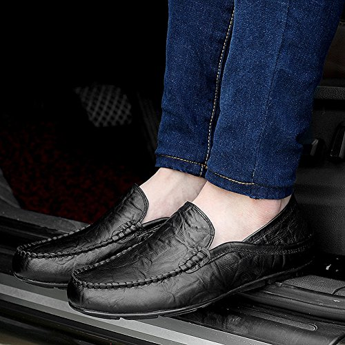 fereshte Black Slippers Driving Winter Leather Cowhide for Shoes Fleece Casual Loafers Business Men's Breathable Flat Zraqn6Z