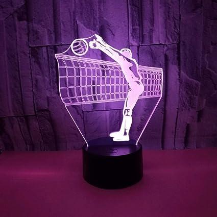 DYY Voleibol 3D Pequeño Night Light USB Socket Colorful LED Panel de acrílico 3D Estereoscópico Realista