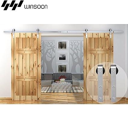 e46680b2c96 Amazon.com  WINSOON Modern Classic Indoor 304 Stainless Steel Double  Sliding Door Tracks Roller Barn Door Hardware Closet Kit (10FT   Double  Door Kit)  Home ...