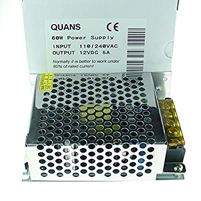 QUANS 110V to 12V DC 5A 60W Universal Regulated Switching Power Supply LED Lighting Strip CCTV: Home Audio & Theater