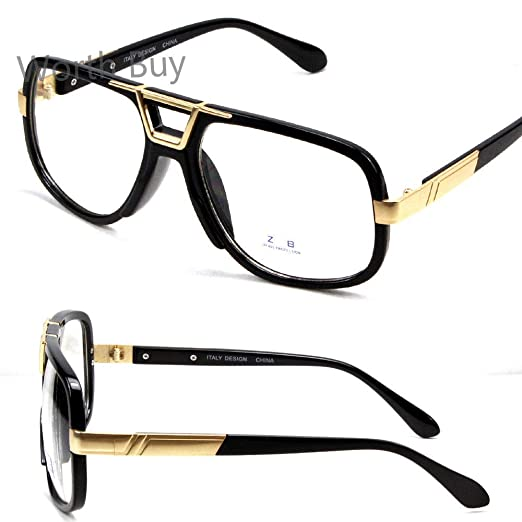 0d34308b6f00 Amazon.com  Mens Womens DMC Square Frame Gazelle Clear Lens Fashion Glasses  DJ Hip Hop Retro  Clothing