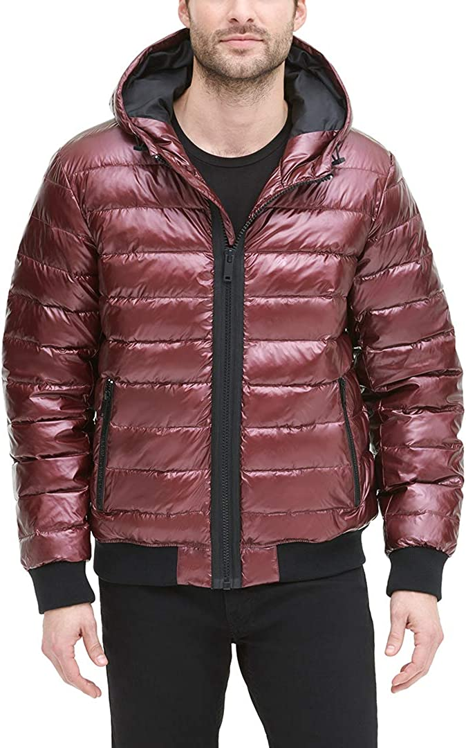 DKNY Mens Quilted Performance Hooded Bomber Jacket