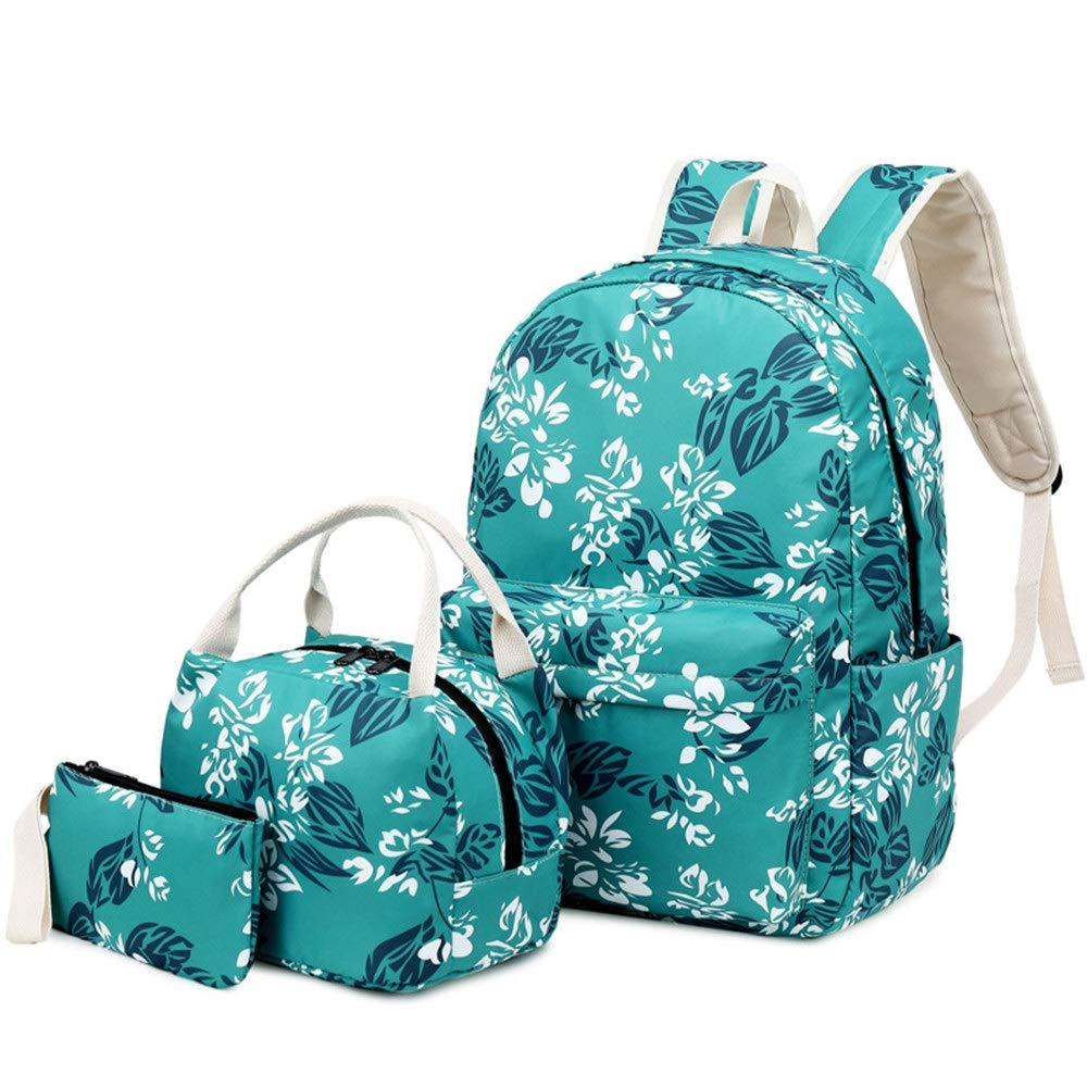 Backpacks For Girls and Boys School Bag Tens Junior High School Casual Travel Daypack Womens Girls Backpack Canvas Bookbags Water Resistant Printed Floral Three-piece Set Large Capacity School Backpac