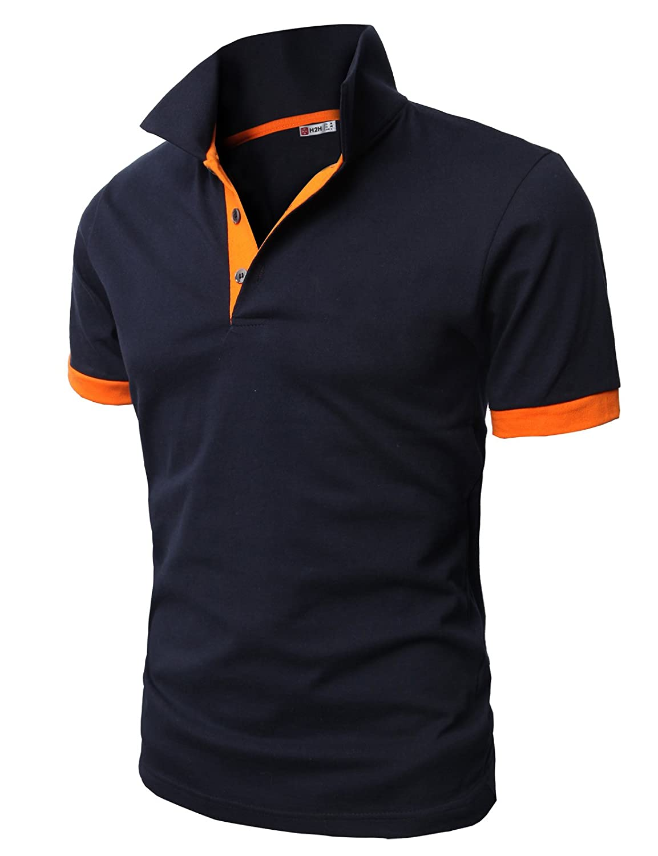 【H2H】 メンズ カジュアル ゴルフウェアー ファッション ベーシック 無地 スリームフィット ワンポイント 半袖 ポロシャツ B0186YJOXK 6L|0448-ネイビー 0448-ネイビー 6L