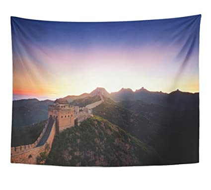 Emvency Tapestry Print Blue Beijing Great Wall Of China At Sunrise Greatwall Silhouette Ancient Asia Bright