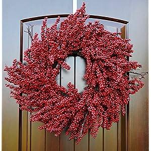 "Large Red Berry Christmas Wreath for Front Door in 24"" Diameter 36"