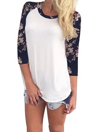 ZEARO Damen Langarm Tops T-Shirts Blumen Oberteile Hemden Blusenshirt Blusen  Langarmshirt