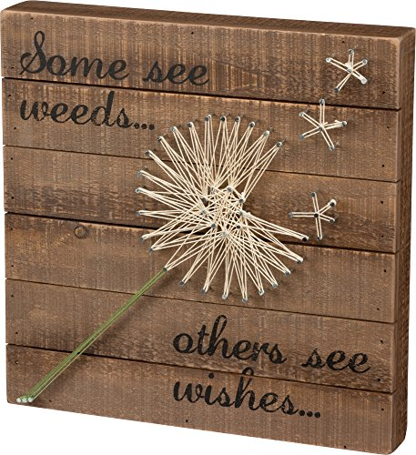 Primitive Craft Signs (Some See Weeds… Others See Wishes… - Dandelion String Art Plank Board Box Sign - 12-in)