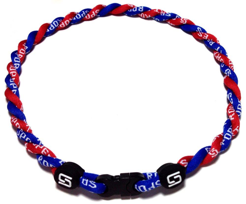 Sport Ropes 2 Rope Titanium Necklace (Blue/Red, 22'')