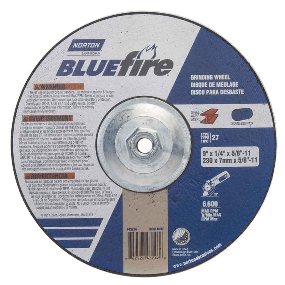 Norton 66252843246 9x1/4x5/8 - 11 in. BlueFire Depress Center Wheels,
