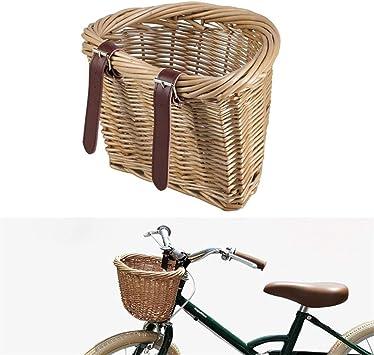 Robusto 1pc for bicicleta de almacenamiento cesta de mimbre de bicicletas Alforjas delantera del manillar de la bici cesta cesta del almacenaje de Schoolbag admiten bolso adecuado (Color : Yellow) :