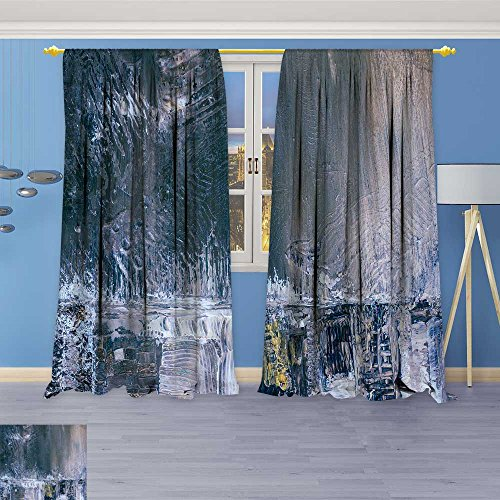 (SOCOMIMI Room Darkening/Thermal Insulated Grommet Window Curtains Painted Background Wallpaper Texture Acrylic Paint on Canvas Set of Two Panels 120W x 84L inch)