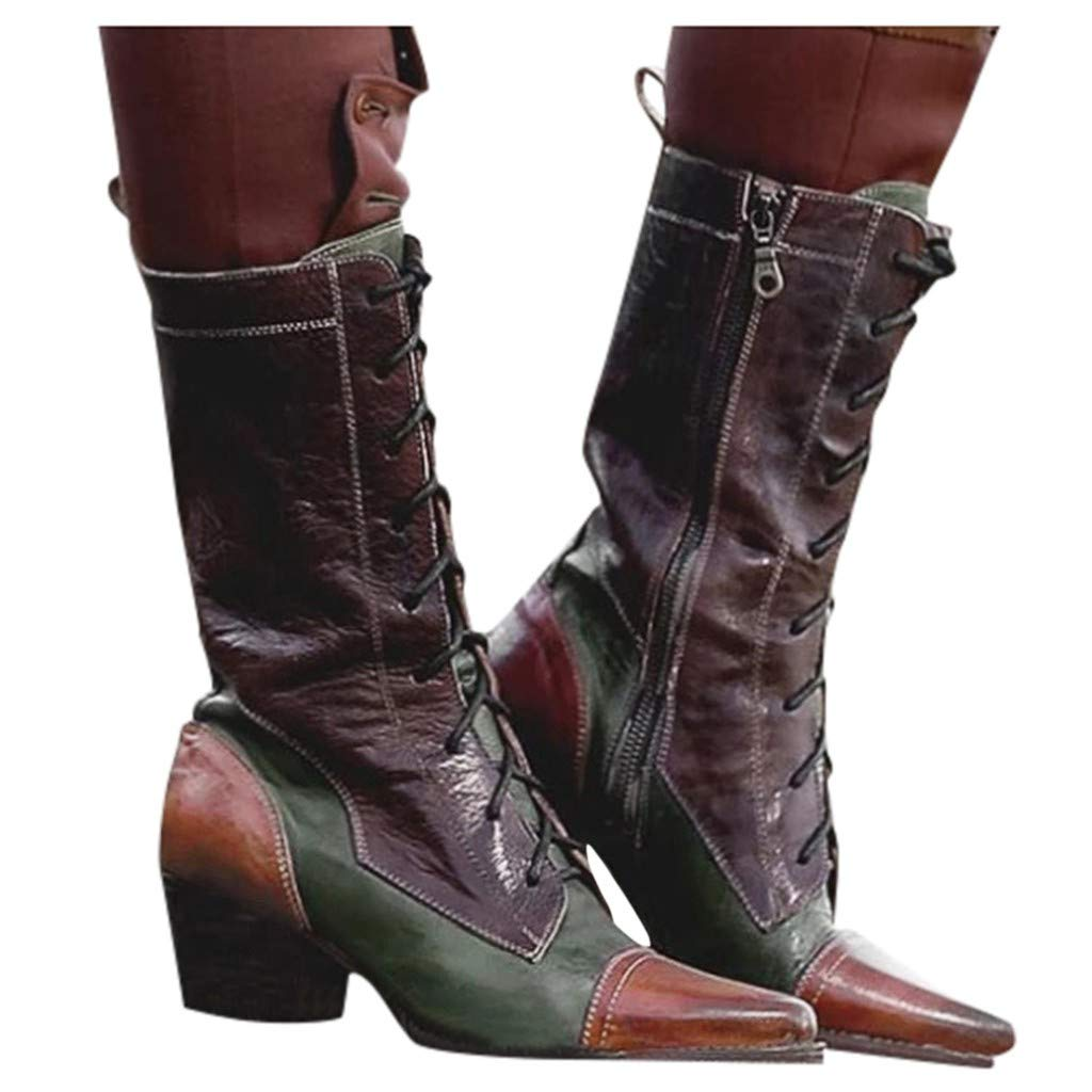 Pongfunsy Women's Fashion Boots, Women Lace-Up Knee Hign Boots Casual Square High Heel Middle Boots Western Cowboy Boots Green by Pongfunsy