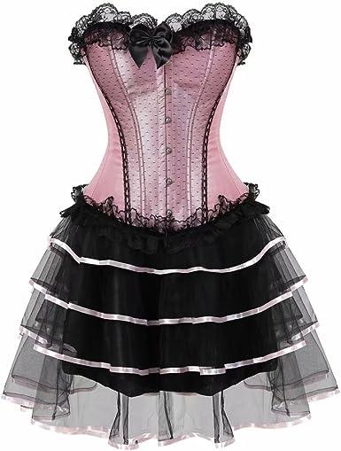 Mujer Gótico Encaje Dress Corset Vestido Bustiers Falda Tutu Sexy ...