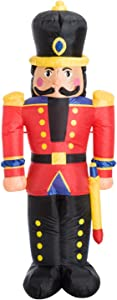 HOMCOM 6' Tall Outdoor Lighted Airblown Inflatable Christmas Lawn Decoration - Nutcracker Toy Soldier