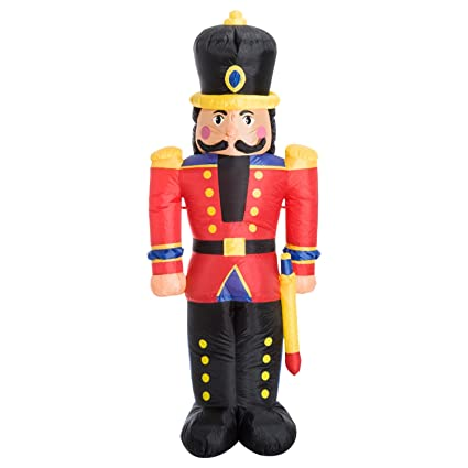 homcom 6 tall outdoor lighted airblown inflatable christmas lawn decoration nutcracker toy soldier