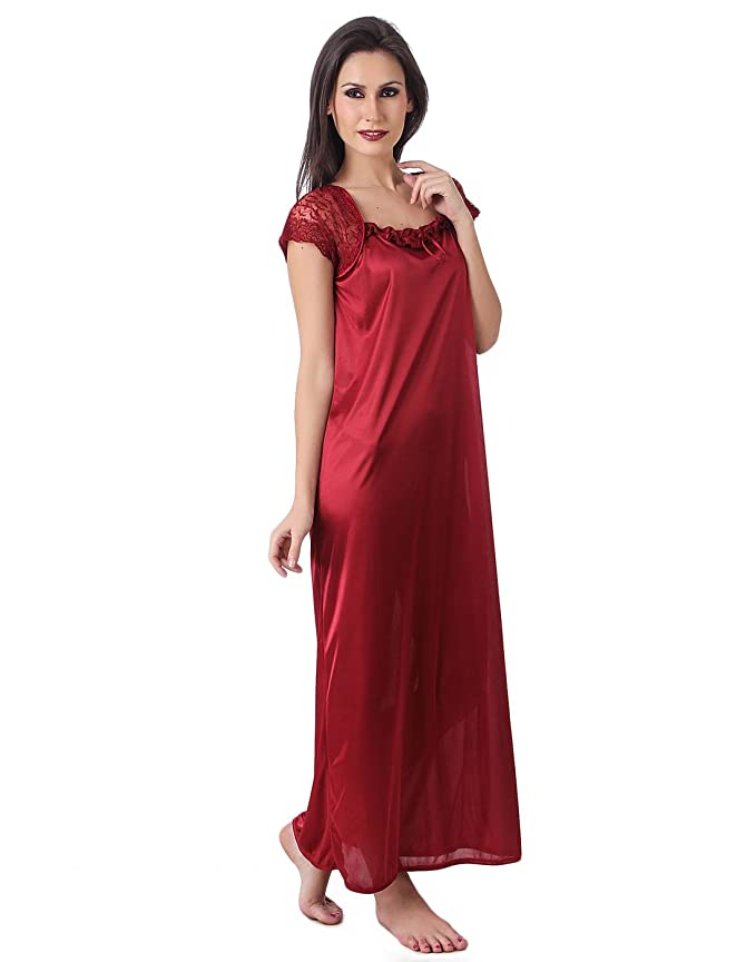 38bd9237247 Masha Women s Nightdress (NT14 Maroon Free Size)  Amazon.in  Clothing    Accessories