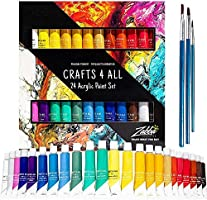 Acrylic Paint Set 24 craft paints. For paper, canvas, wood ,ceramic ,fabric, & crafts. Non toxic & Vibrant colors. Rich...