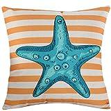 Yoyokmc Printed Cotton Linen Square Decorative Throw Pillow Case Valentine's Day Gift Cushion Cover, Sofa cushion Car Office Pillowcase, Beige Cotton Blend Linen 18x18'' (starfish)