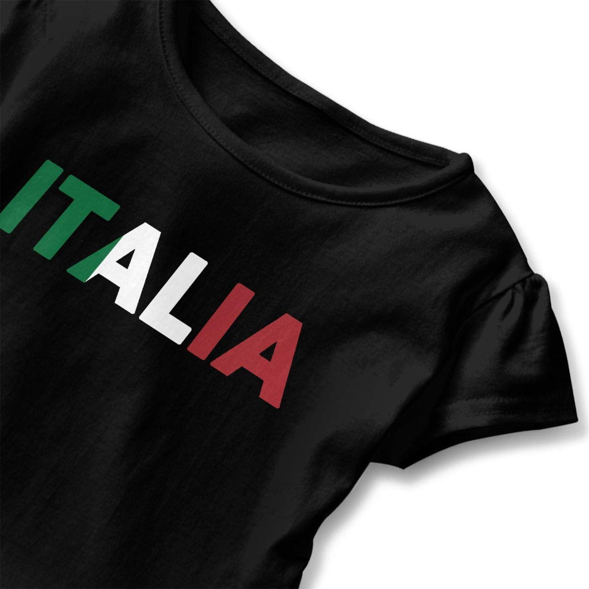 QUZtww Italia Italy Italian Flag Toddler Baby Girl Basic Printed Ruffle Short Sleeve Cotton T Shirts Tops Tee Clothes Black