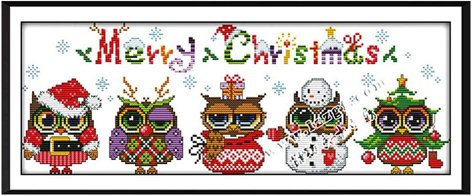 Buon Natale Gufi PUNTO CROCE KIT 14ct