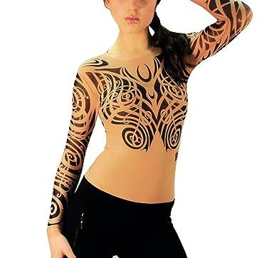4ec9d7224 Wild Rose Ladies Elemental Tattoo Mesh Shirt, Tan, X-Small at Amazon ...
