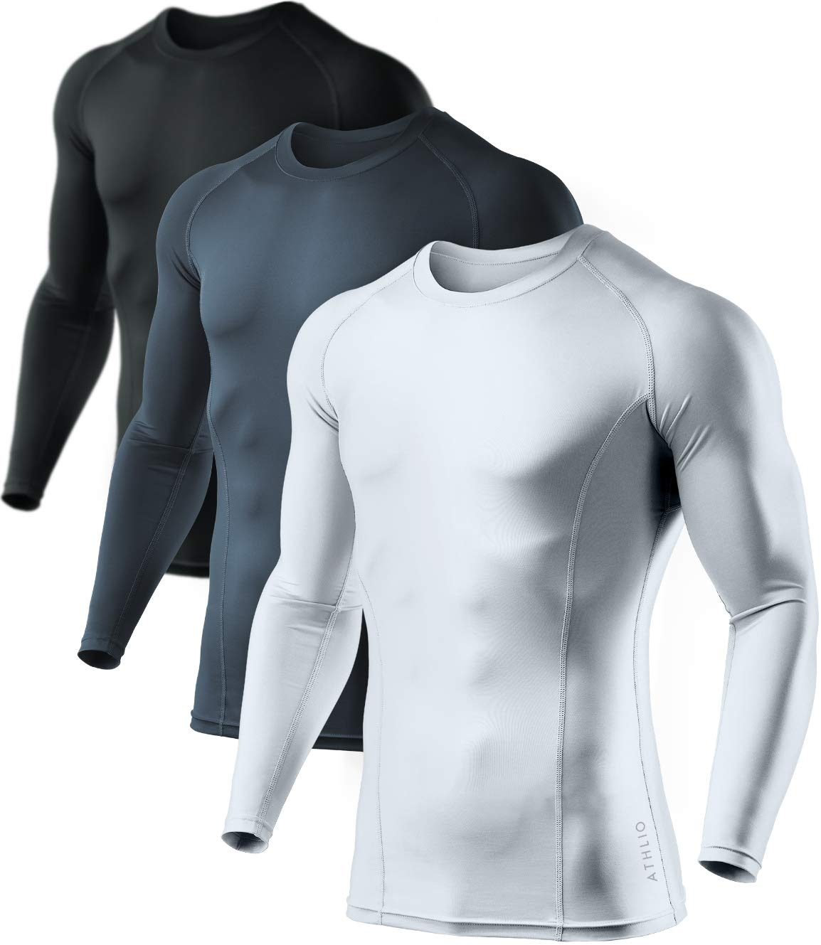 ATHLIO AO-BLS01-KCW_2X-Large Men's (Pack of 3) Cool Dry Compression Long Sleeve Baselayer Athletic Sports T-Shirts Tops BLS01