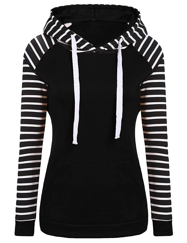 YUNY Womens Long Sleeve Hood Stripes Printed Pullover Hoodie Shirt Top Black L