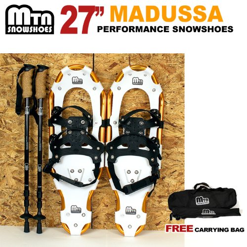 """Price comparison product image New MTN Snowshoes Man Woman Kid Youth 27"""" WD GOLD +Nordic pole+Free Carrying Tote Bag"""
