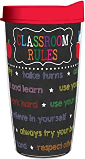 product image for Smile Drinkware USA-Teacher Classroom Rules 16oz Tritan Insulated Tumbler with Lid and Straw