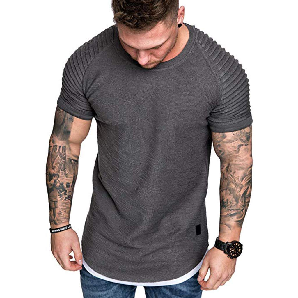 STORTO Mens Solid Pleats T-Shirts Slub Cotton Fit Raglan Short Sleeve Tee Shirts Tops