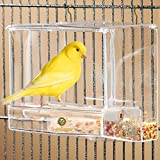 #6: Acrylic Glass Bird Feeder Set -- Spill-proof, Crystal clear - Easy to install with 2 Hooks, Economical - Perch provides enjoyable eating time to Finch, Parakeet, Sparrows - Perfect for all Cage Sizes