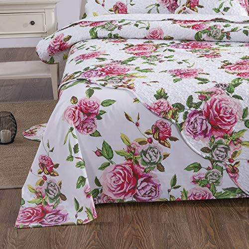 DaDa Bedding Romantic Roses Flat Sheet Only - Lovely Spring Pink Floral Colorful Bright Vibrant - Queen Size