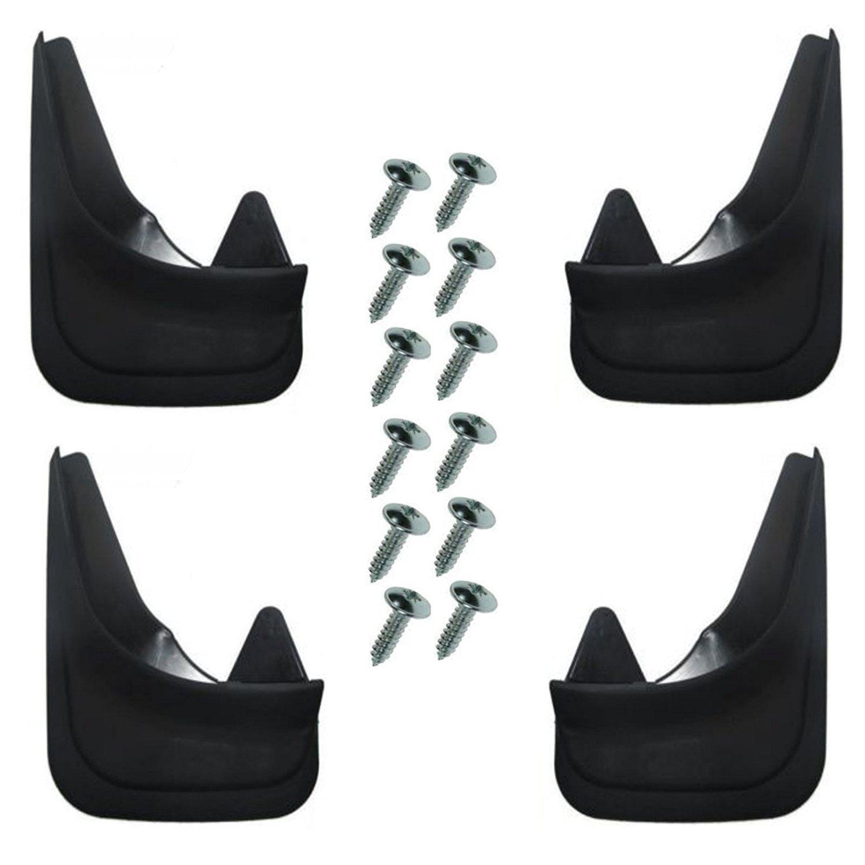 4 universale Fit nero Parafanghi anteriore e posteriore per auto completo di viti di montaggio –  sagomato, sagomato, easy fit parafanghi/guardie ASC
