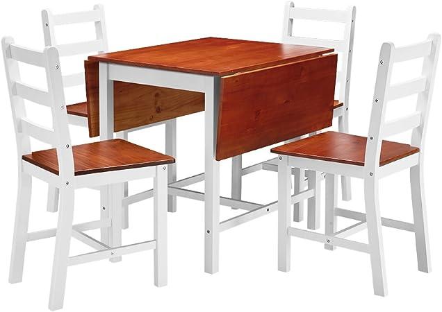 shougui trade Juego de sillas de Mesa de Comedor de Cocina, Mesa Extensible y 4 sillas