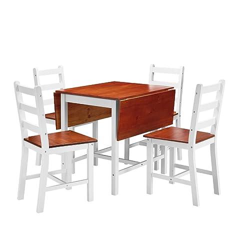 shougui trade Juego de sillas de Mesa de Comedor de Cocina, Mesa Extensible  y 4 sillas de Madera Maciza Juego de sillas de Mesa de Cocina de Ahorro de  ...
