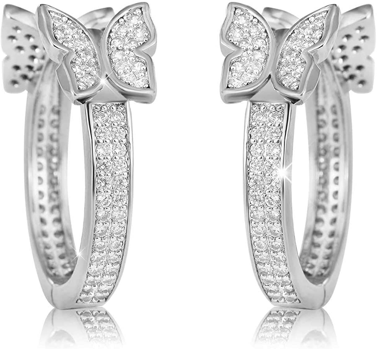 Snake Shape CZ Micro Pave Fashion Dangle Stud Earring Hoop Earrings with 925 Sterling Silver Post for Anniversary Birthday Gift