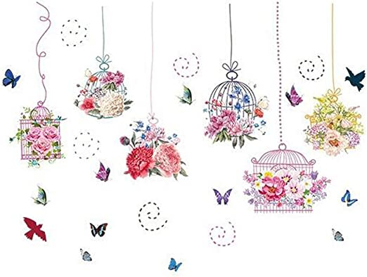 Flower Bird Cage Removable Wall Sticker Window Room Decor Mural Art Home Decal