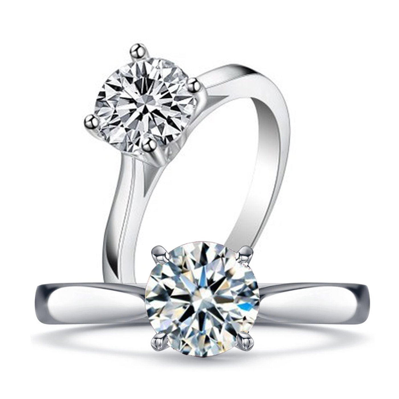 Venetia Top Grade Realistic Hearts and Arrows Cut 2.0 Carats Simulated Diamond Solitaire Ring 925 Silver Platinum Plated Promise Engagement cubic zirconia cz soli2-5