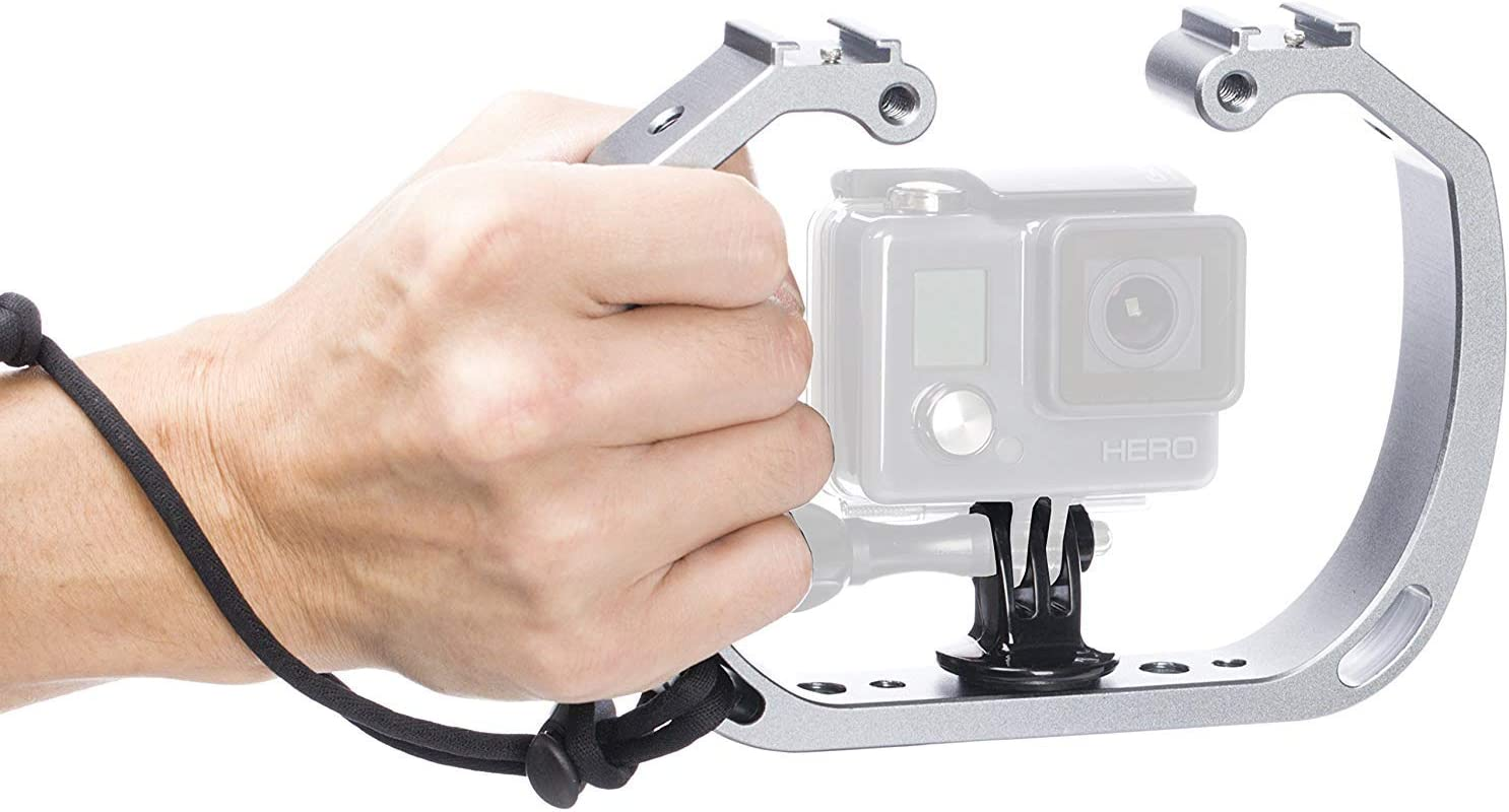 XL Version HERO7 Works with HERO3 Wrist Strap Movo GB-U80 Underwater Diving Rig for GoPro Hero with Cold Shoe Mounts HERO8 and Waterproof Action Cam Scuba GoPro Accessory HERO5 HERO6 HERO4