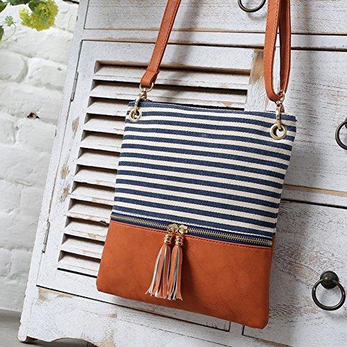 Black Bag Handbag Women Ubags Zipper Double Girls Shoulder Stripe Bag Crossbody Messenger Lady for with by qn65Ca