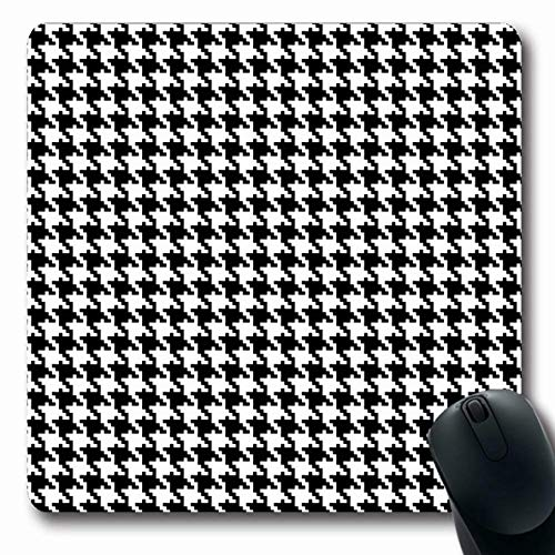 Ahawoso Mousepad for Computer Notebook Revival Tooth Houndstooth Abstract Pattern Plaid Hounds Woven Swatch Graphic Wool Design Oblong Shape 7.9 x 9.5 Inches Non-Slip Gaming Mouse Pad