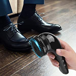ZRB USB Rechargeable Electric Shoe Shine Polisher Portable Handheld Automatic Shoe Cleaning Brush for Leather Bags, Car Seat