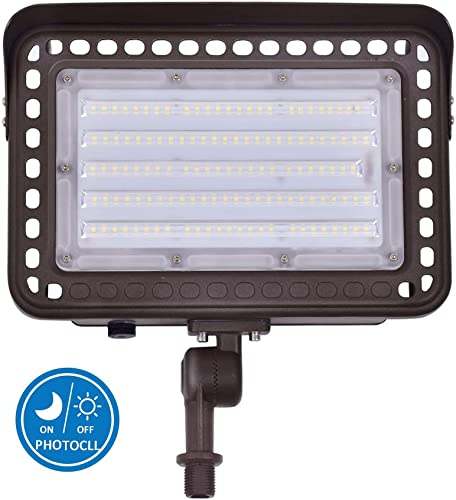 LED Outdoor Flood Light with Knuckle Mount, Dusk-to-Dawn Photocell Sensor, 100W 1000W Eqv. AC100-277V 12,000Lms 5000K Daylight, CRI90 , IP65 Waterproof for Wall Light Security Backyard Area